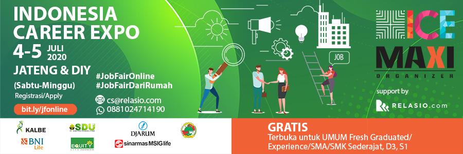 Indonesia Career Expo Job Fair Online Jateng & DIY 4-5 Juli 2020